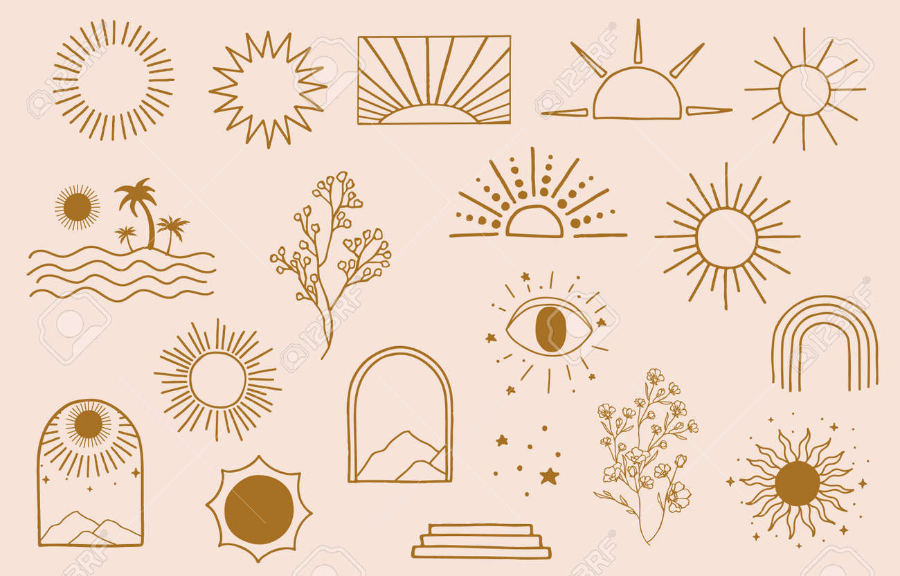 Collection of line design with sun,sea,wave.Editable vector illustration for website, sticker, tattoo,icon - 169917911