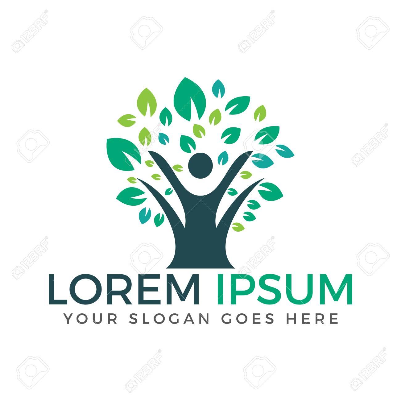 Gesunde Person Vektor Logo Design Menschen Baum öko Und