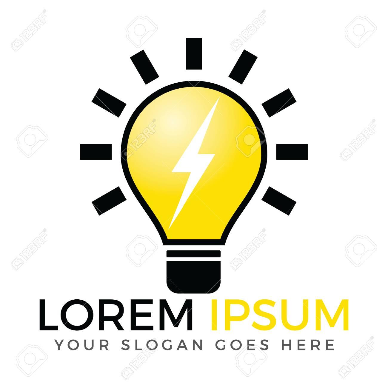 Light bulb and thunder bolt logo design  Lightning bulb logo