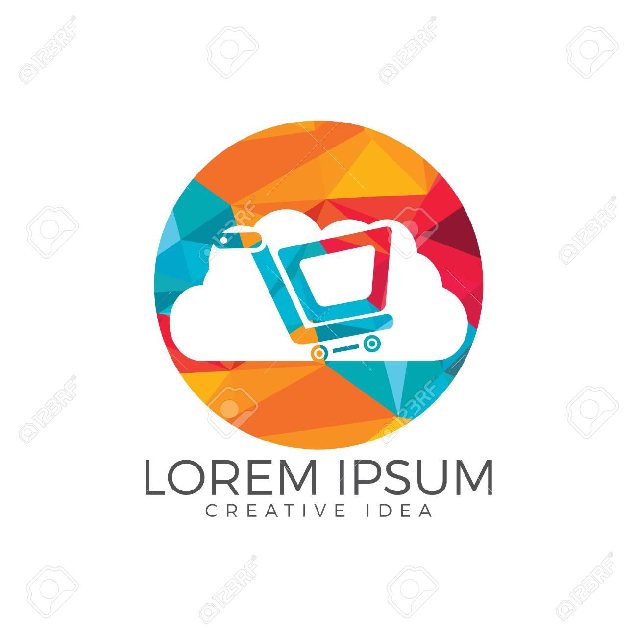 Cloud Shoping Logo Design Vector Online Shop Logo Template Royalty