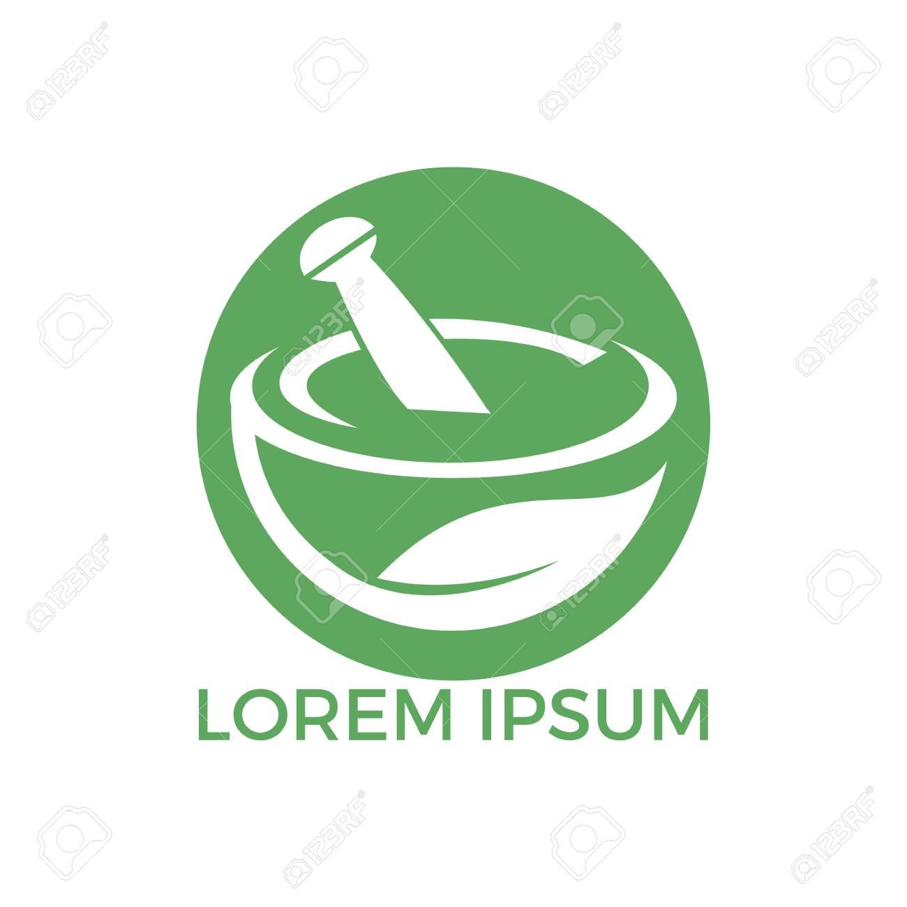 Pharmacy medical logo design. Natural mortar and pestle logotype, medicine herbal illustration symbol icon vector design. - 109947136