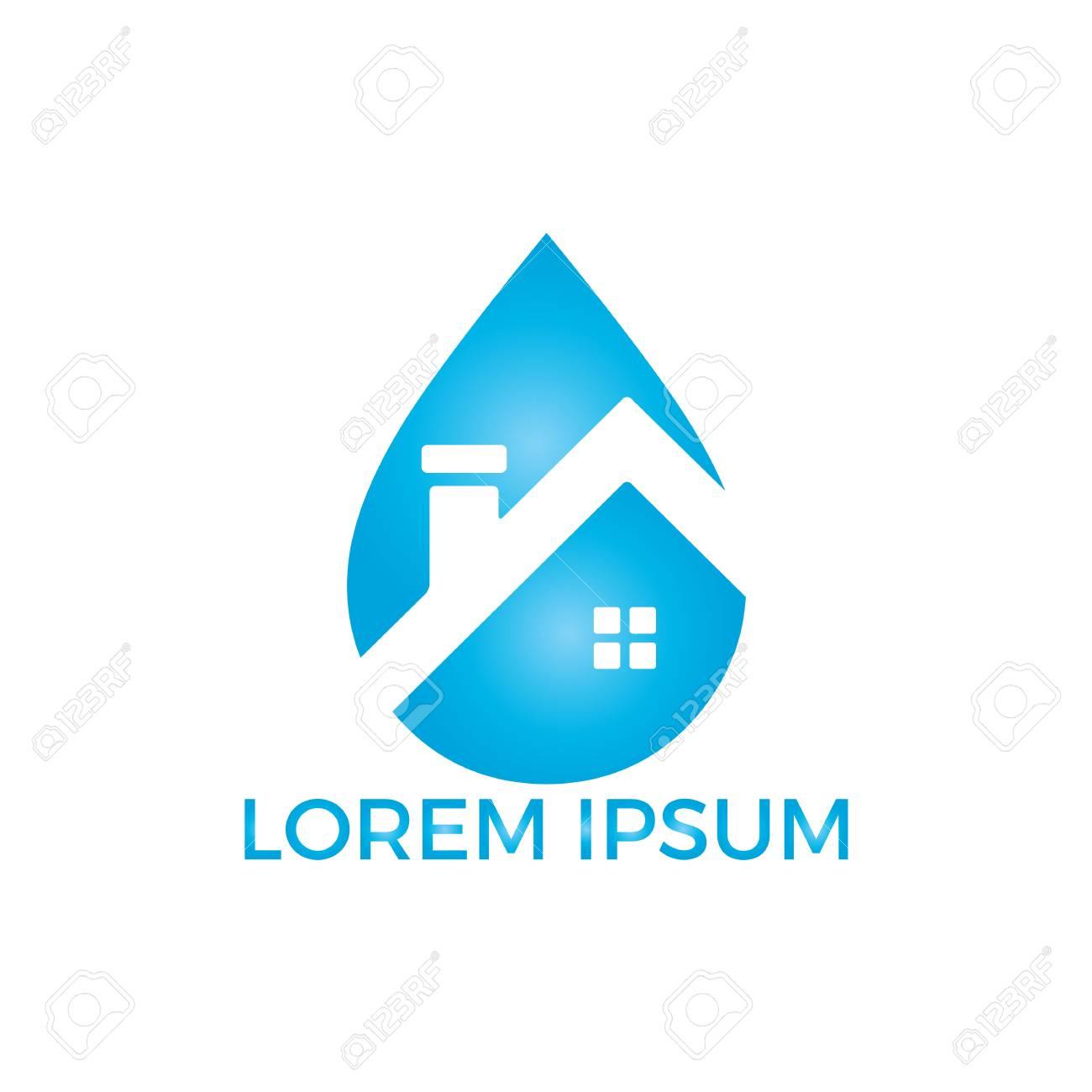 Blue Water Drop Home Logo Design Modern Cleaning Service Logo