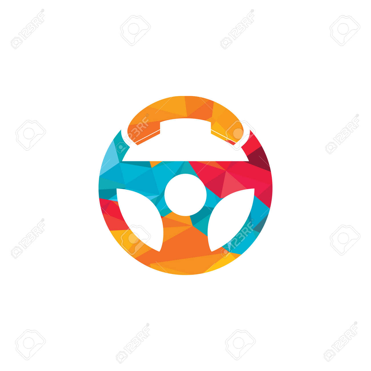 Drive call vector logo design. Steering wheel and phone symbol or icon. - 159177464