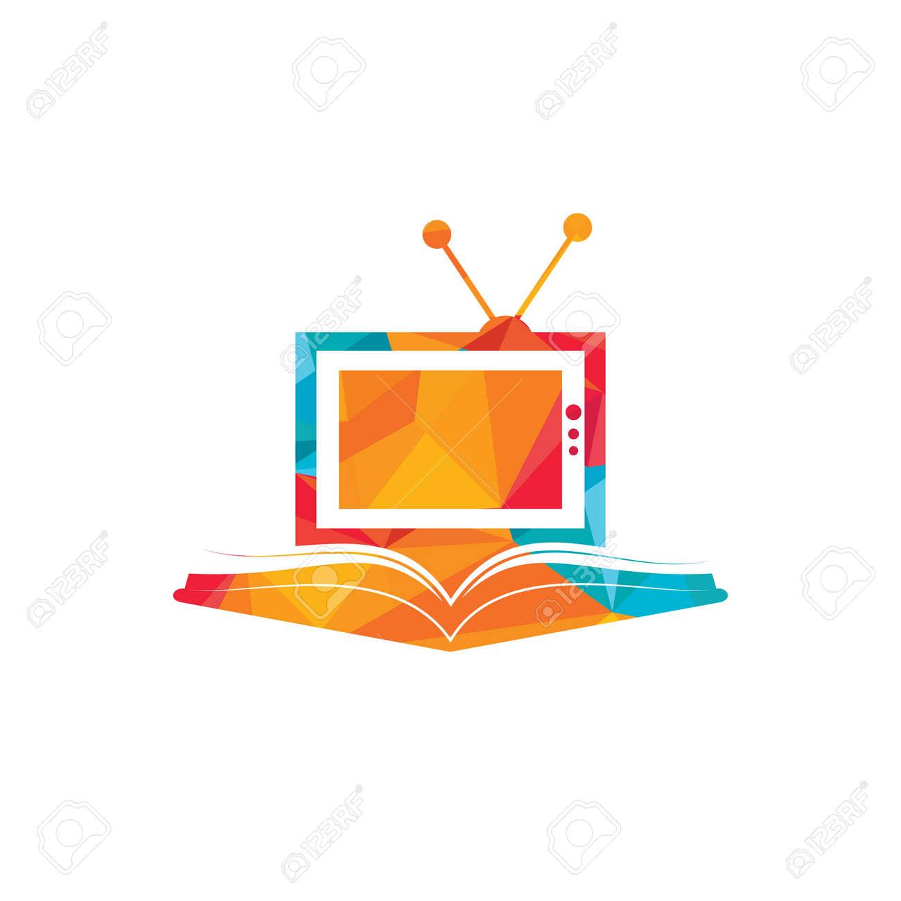 Book TV vector logo template design. Unique bookstore, library and media logotype design template. - 159867144