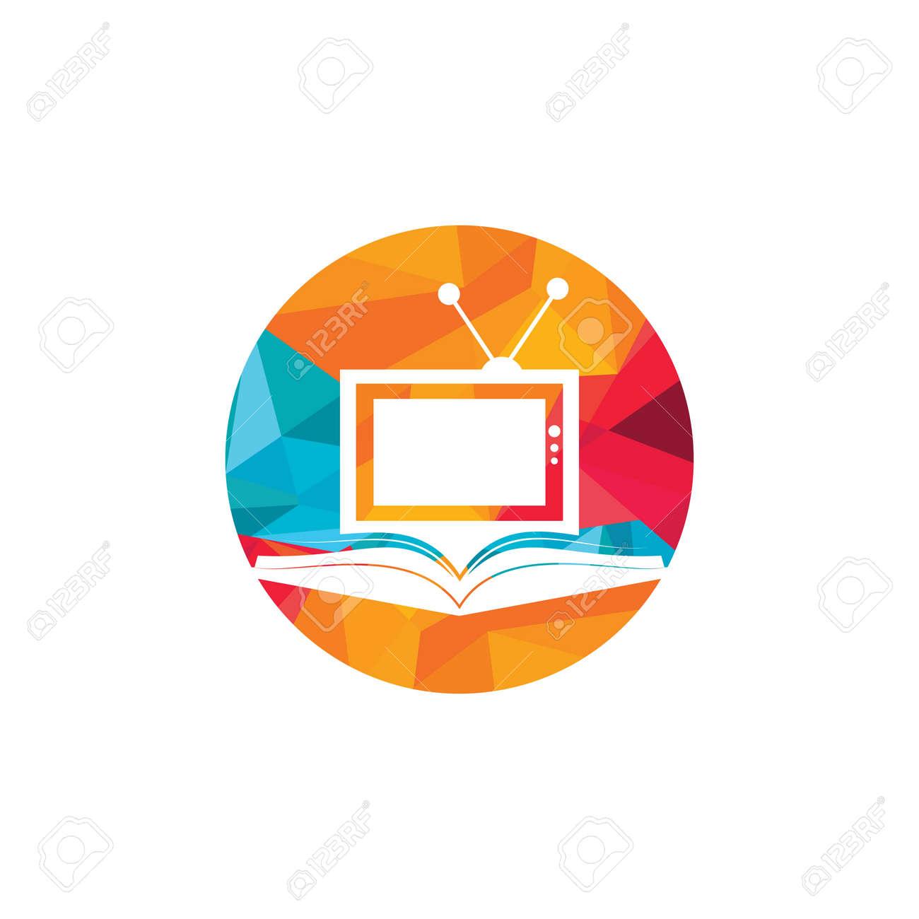 Book TV vector logo template design. Unique bookstore, library and media logotype design template. - 159867162