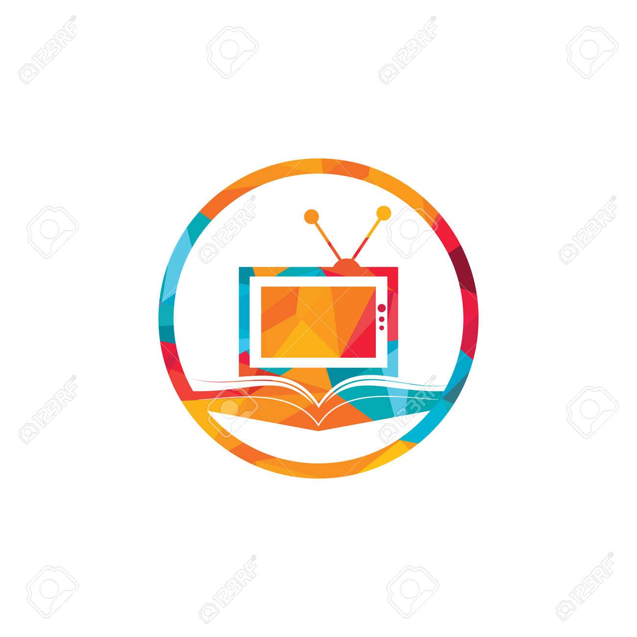 Book TV vector logo template design. Unique bookstore, library and media logotype design template. - 159867225