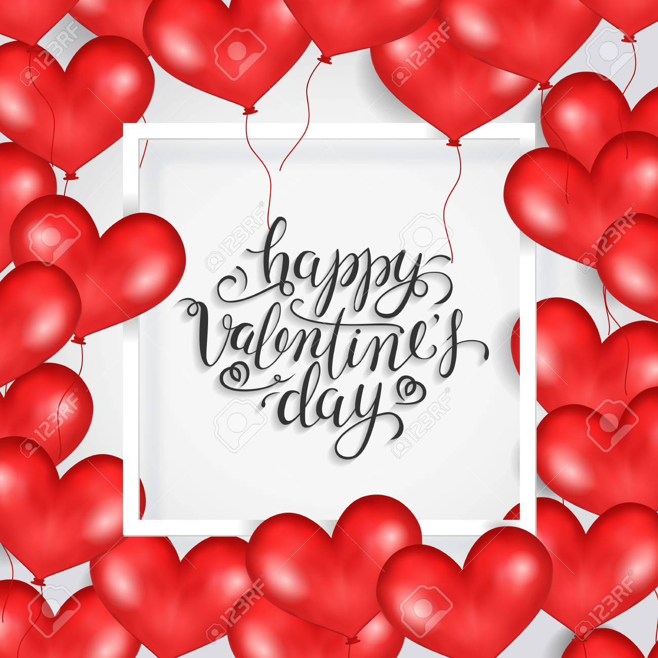 Happy Valentine S Day White Frame Red Heart Balloons White