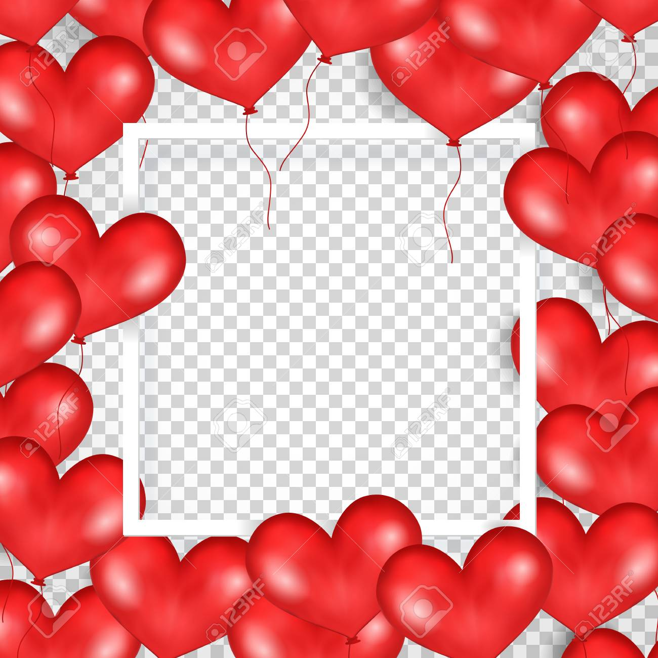 Frame With Red Balloons In Form Of Heart. Transparent Background ...