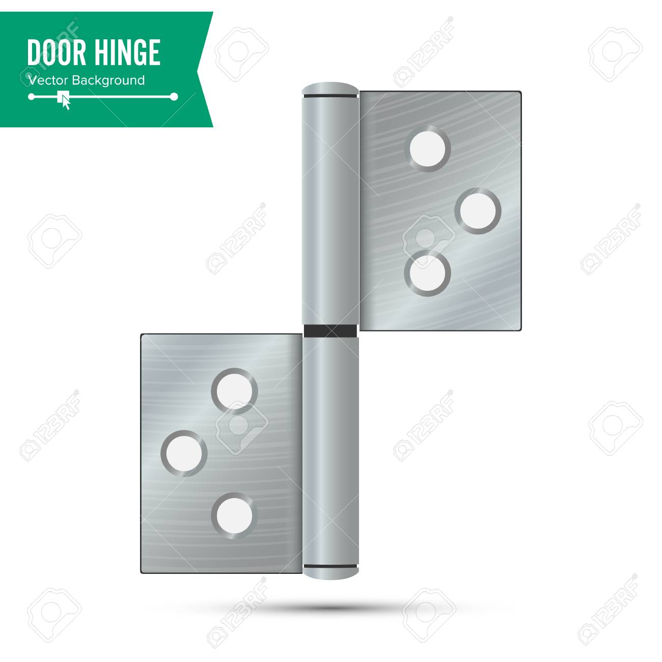 Door Hinge Vector Classic And Industrial Ironmongery Isolated
