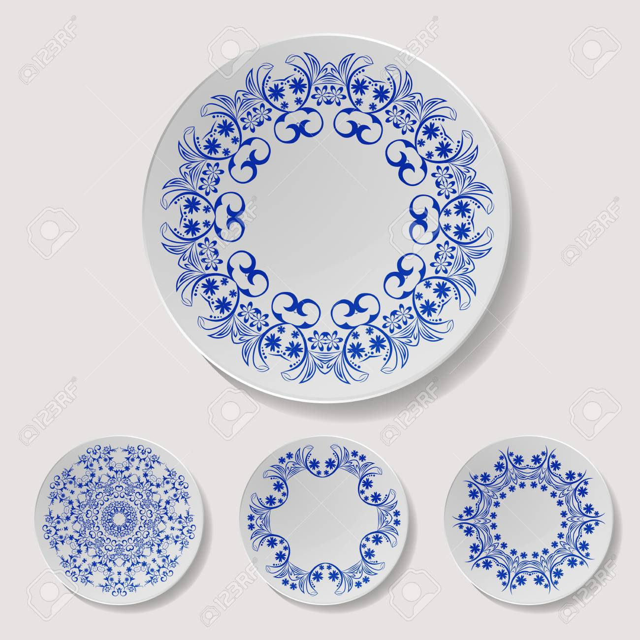 Realistic Plate Vector Set. Closeup Porcelain Tableware Isolated ...