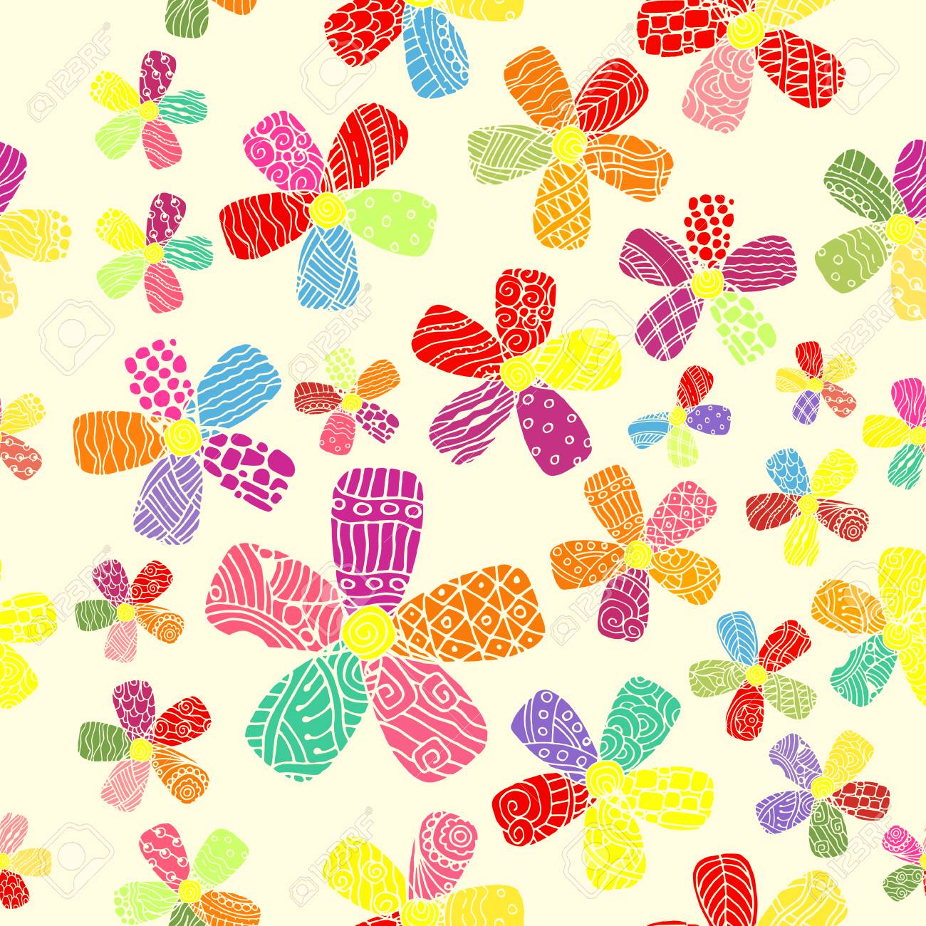 60s Inspired Flower Power Pattern Royalty Free Cliparts Vectors And Stock Illustration Image 71994810