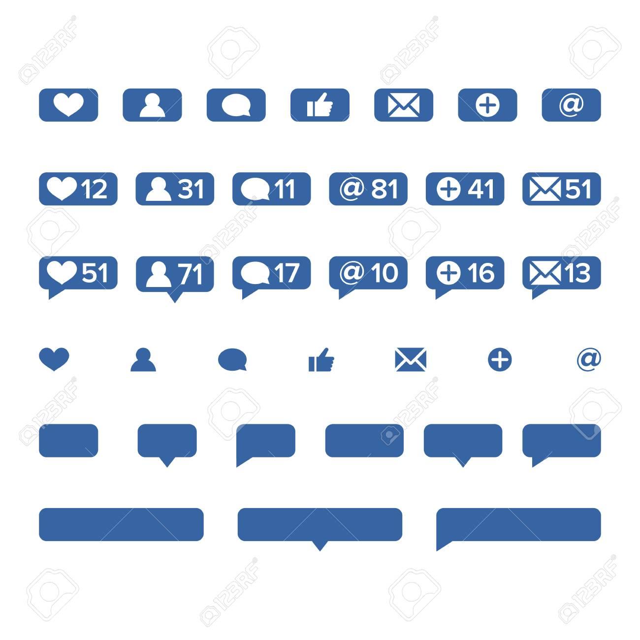 Notifications Icons Template Vector. Social Network App Symbols ...