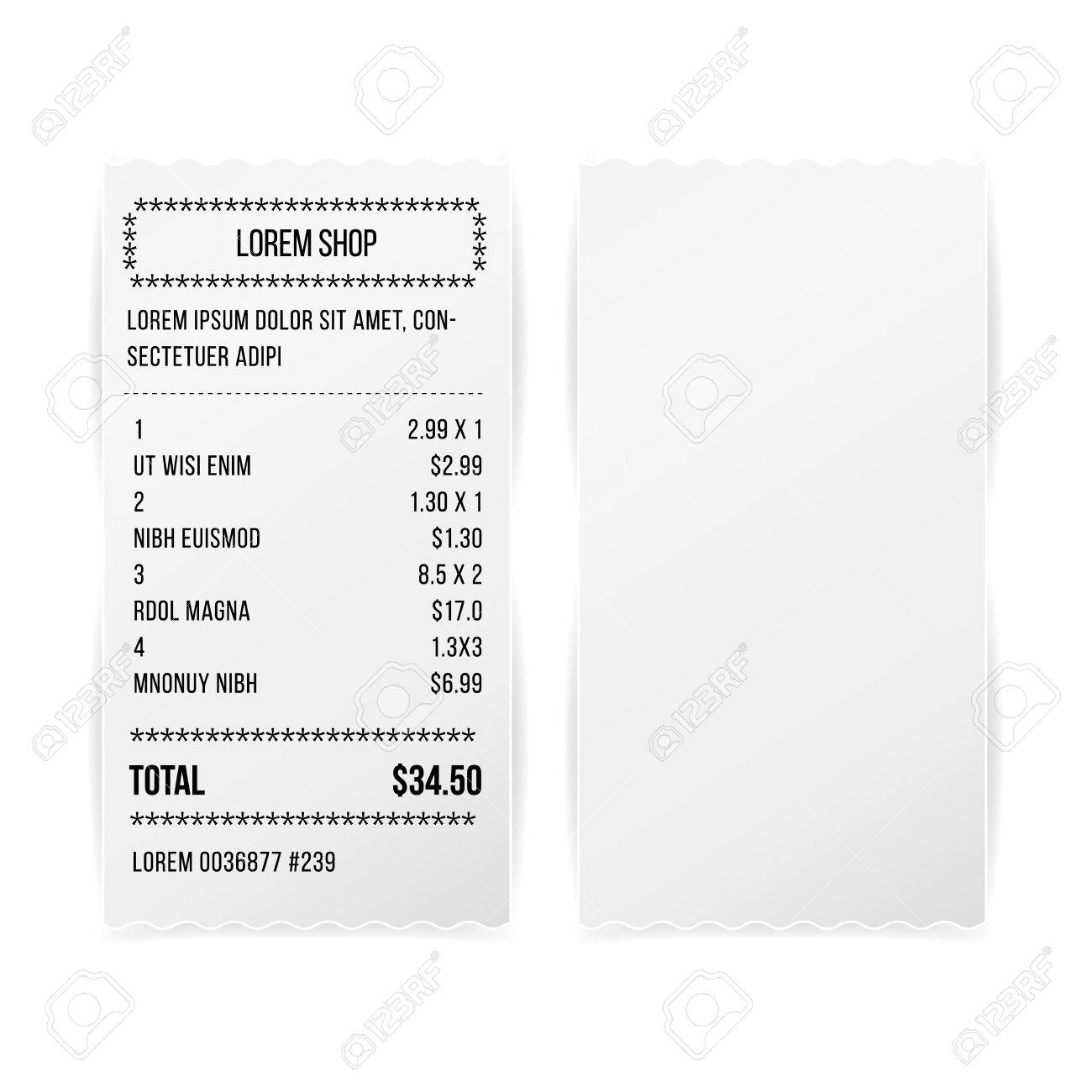 sales printed receipt white paper blank vector shop receipt or bill isolated on white background