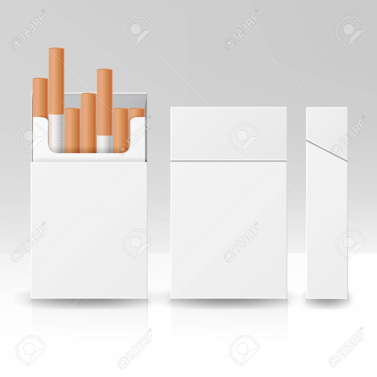 Blank Pack Package Box Of Cigarettes 3D Vector Carton Template For Design. Isolated Illustration - 75826889