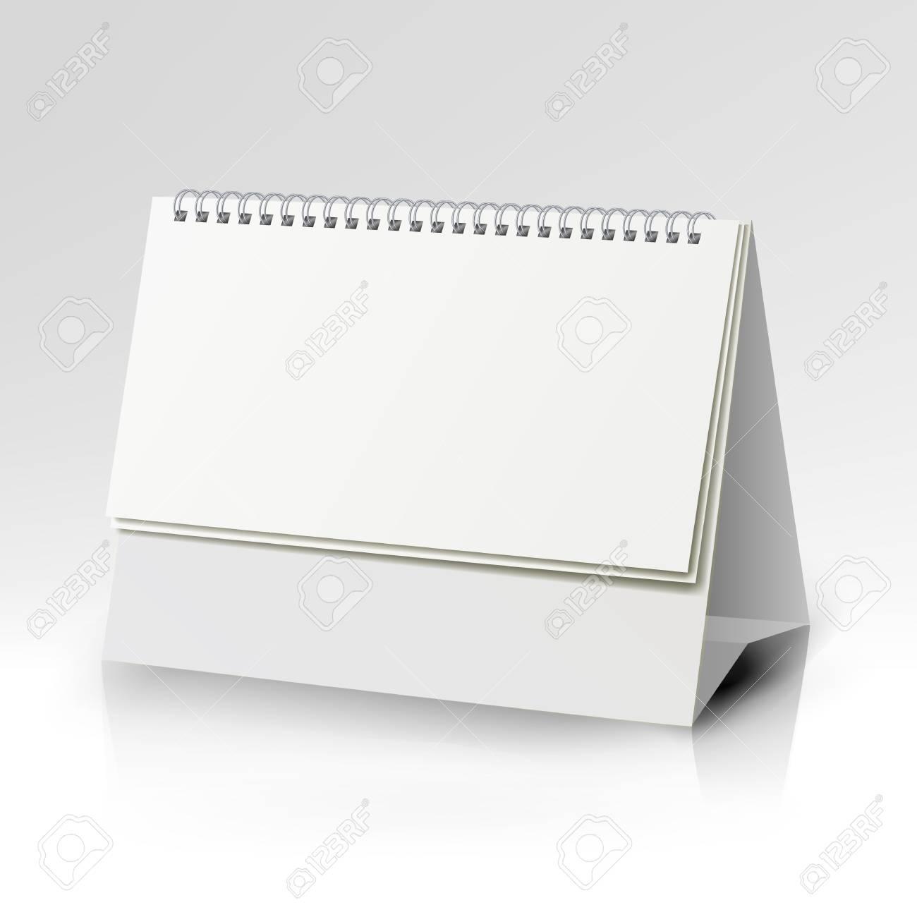 Weiß Leere Papier Schreibtisch Spirale Kalender Vorlage. Lizenzfrei ...