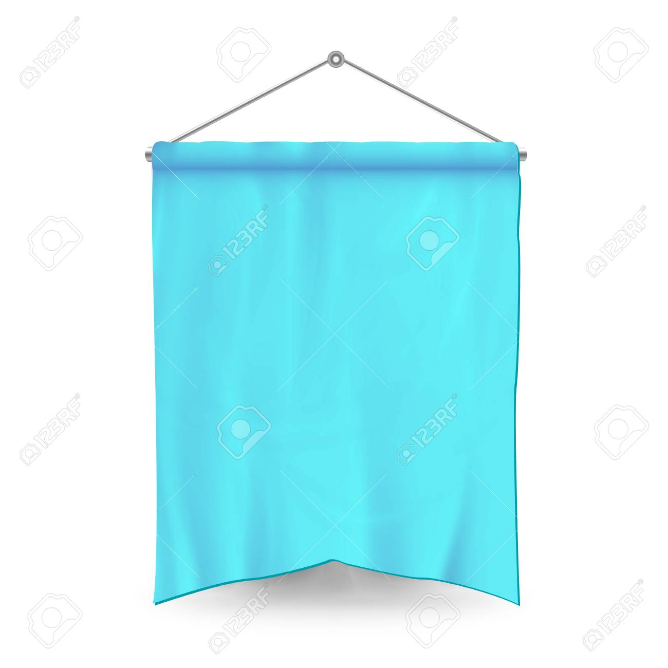 blue pennant template vector empty 3d pennant banner blank
