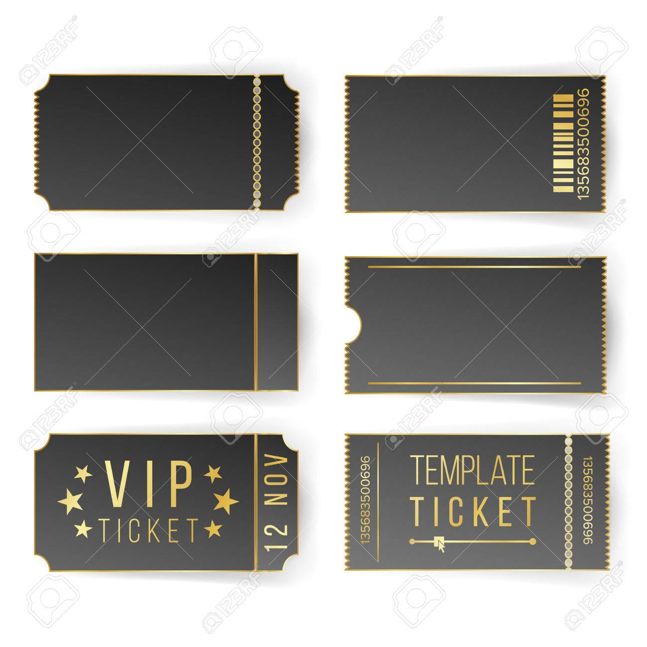 Vip Ticket Template Vector. Empty Black Tickets And Coupons Blank ...