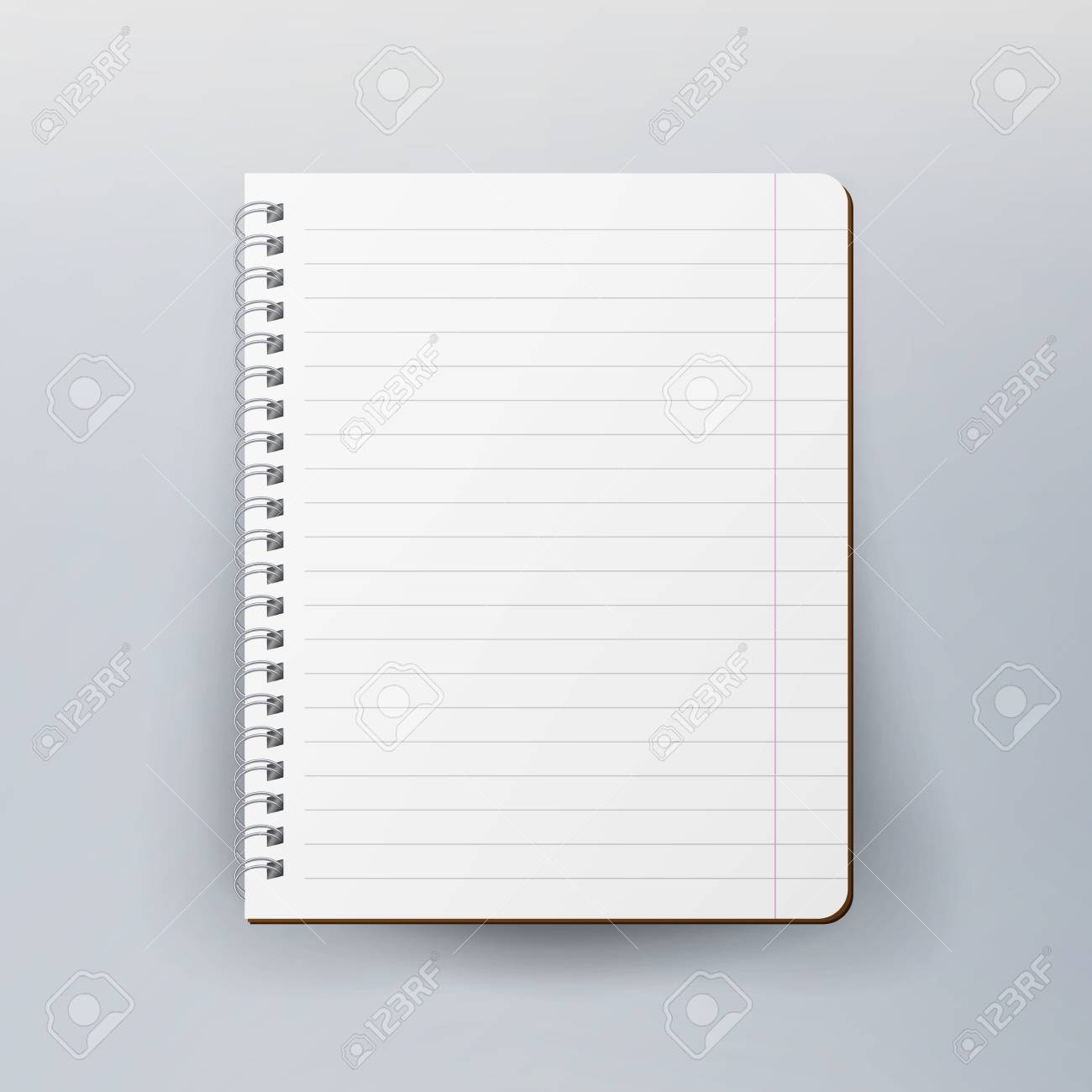 Spiral Empty Notepad Blank Mockup. Template For Advertising Branding ...