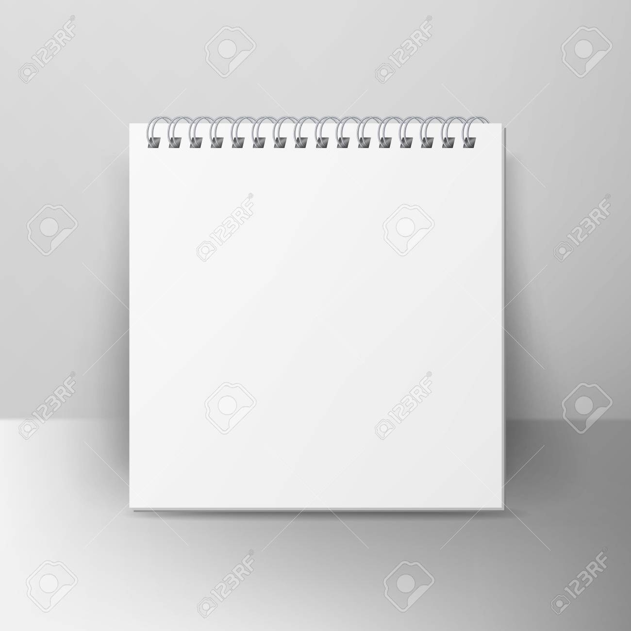 Spiral Empty Notepad Blank Mockup Template For Advertising Branding