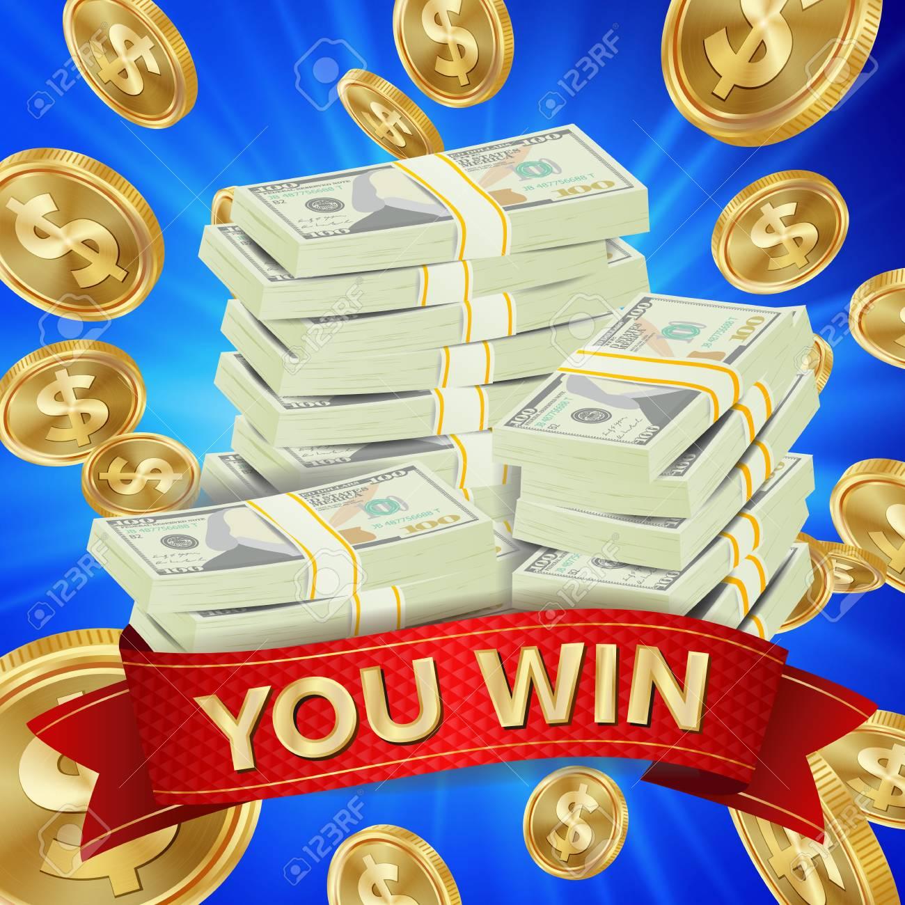 Big Winner Background Vector Gold Coins Lucky Jackpot