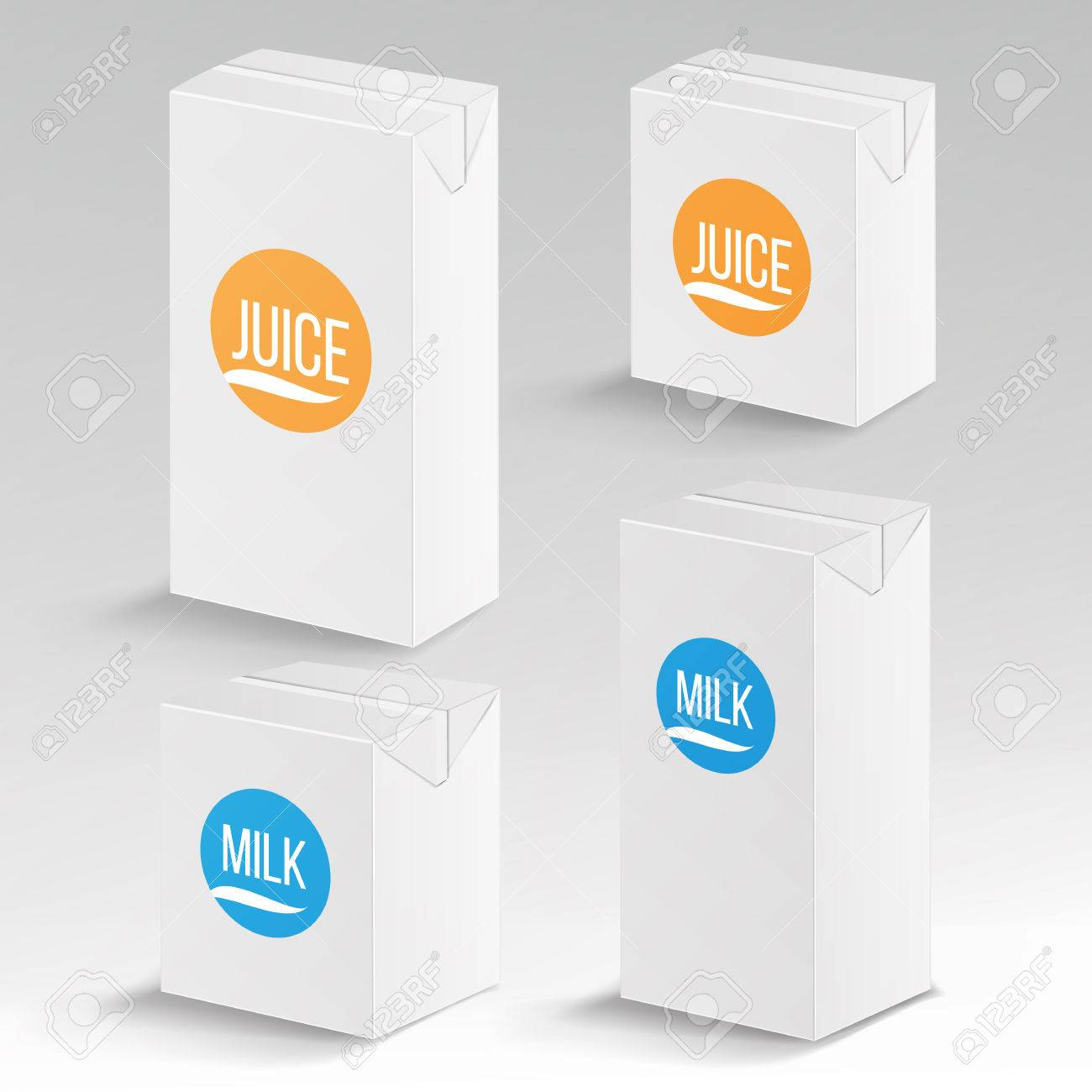 Juice And Milk Package Vector Realistic Mock Up Template Carton Branding Box 1000 Ml