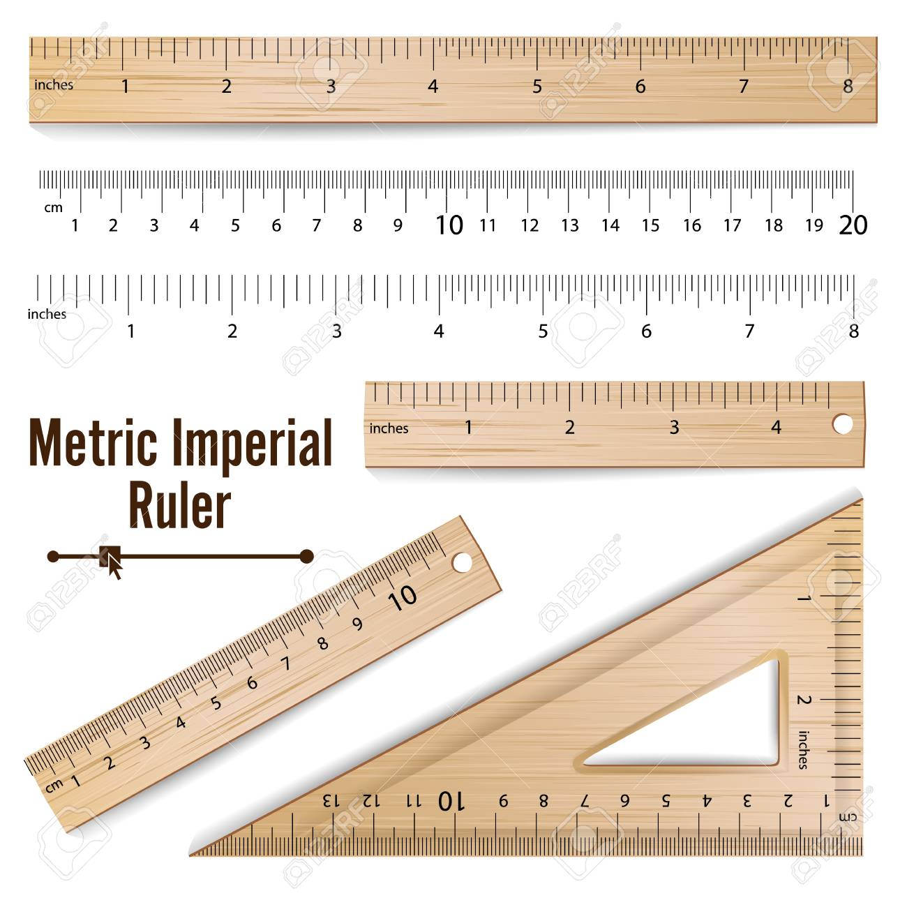 Wooden metric imperial rulers vector centimeter and inch measure wooden metric imperial rulers vector centimeter and inch measure tools equipment illustration isolated on buycottarizona Image collections