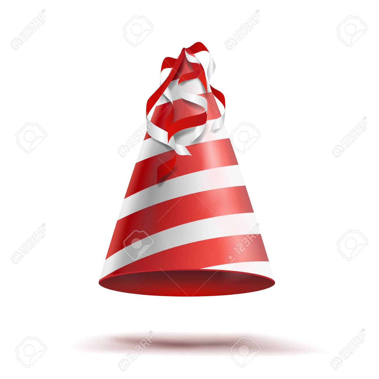 Party Hat Vector Classic Red White Striped Craft Birthday Isolated Stock