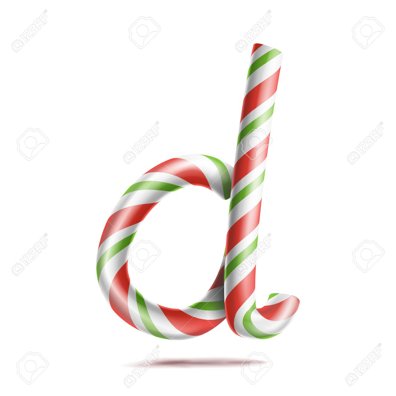 Letter D Vector. 3D Realistic Candy Cane Alphabet Symbol In ...