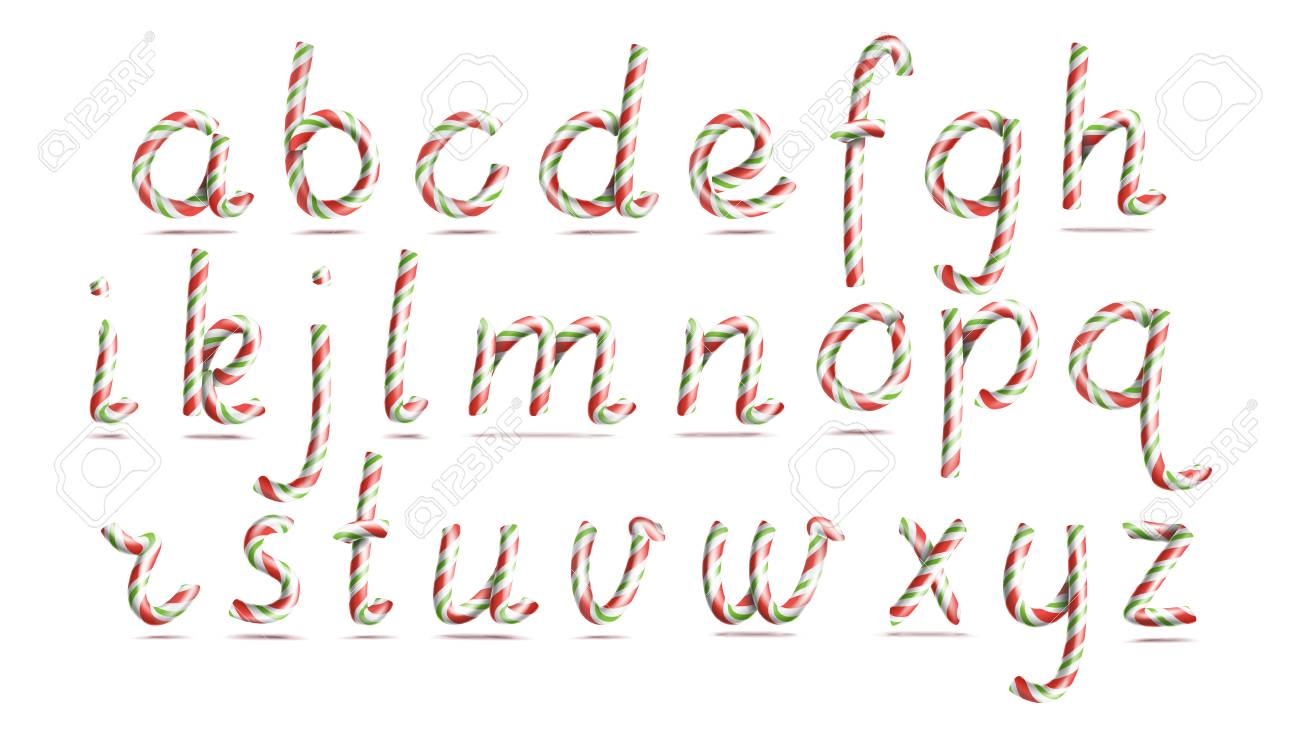 3D Realistic Candy Cane Alphabet Vector. Symbol In Christmas ...