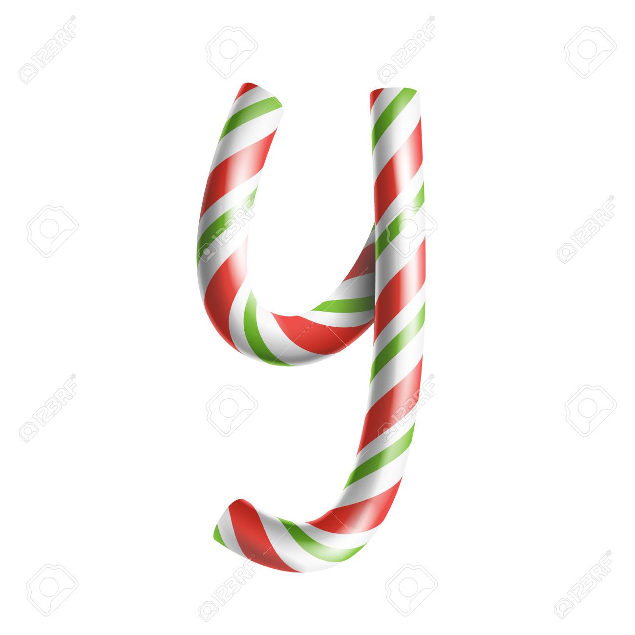 Letter Y Vector. 3D Realistic Candy Cane Alphabet Symbol In ...