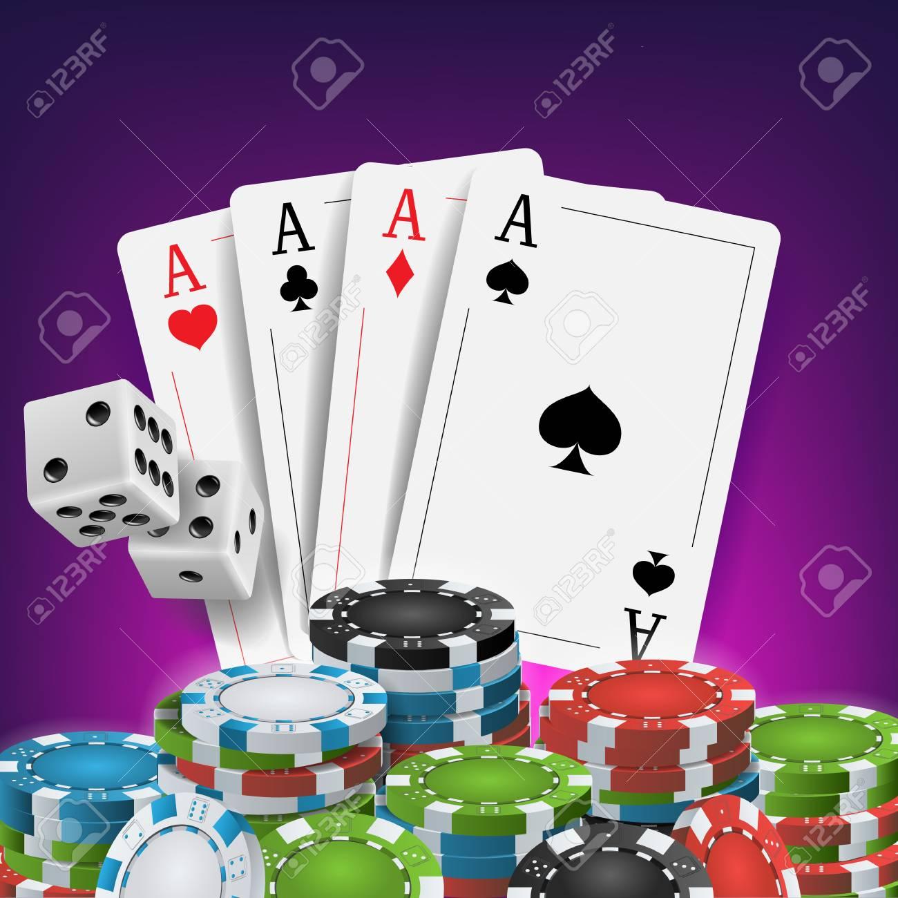 Casino Poker Design Vector Tarjetas De Poquer Jugando A Las