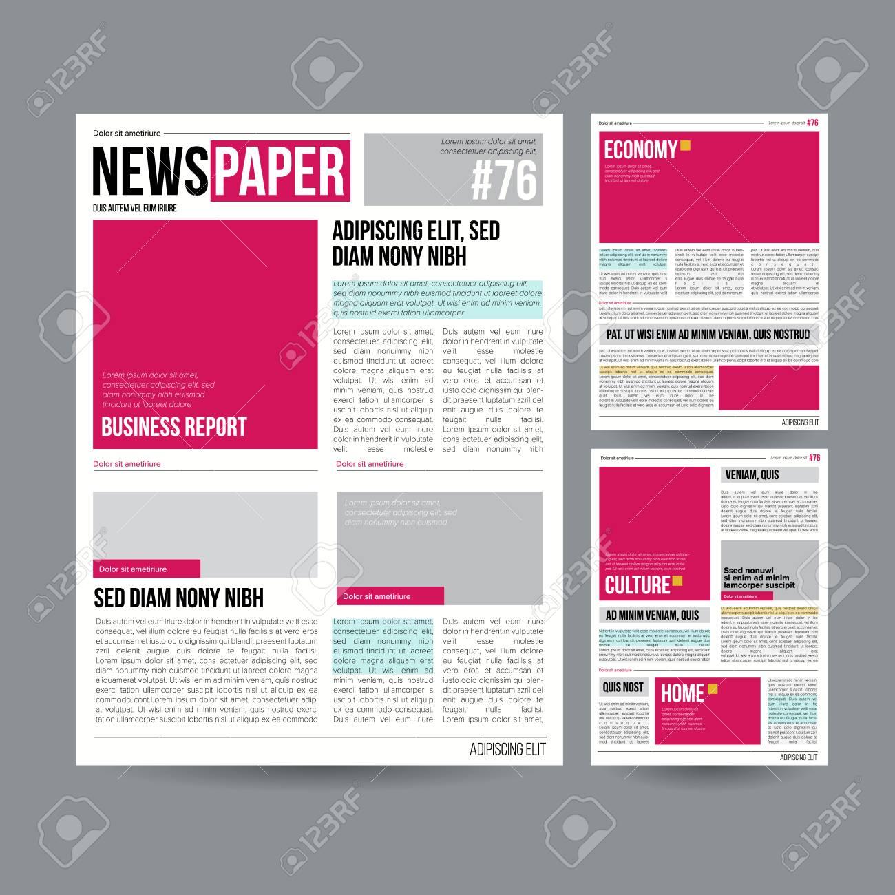 Vector De Plantilla De Diseño De Periódico Tabloide Sobre Fondo Gris ...