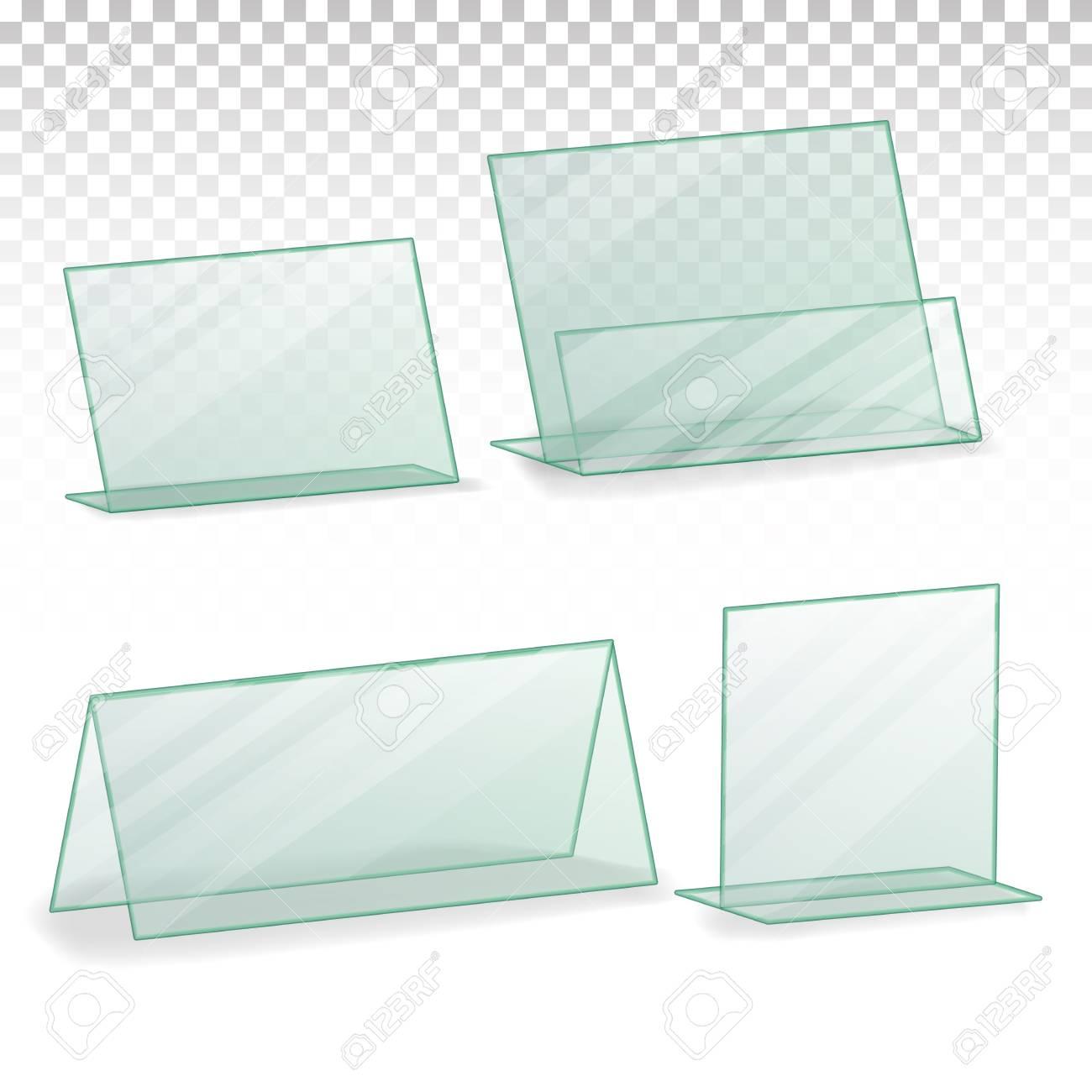 Plastic Holder Vector. Empty Plastic Table Holder For Business ...