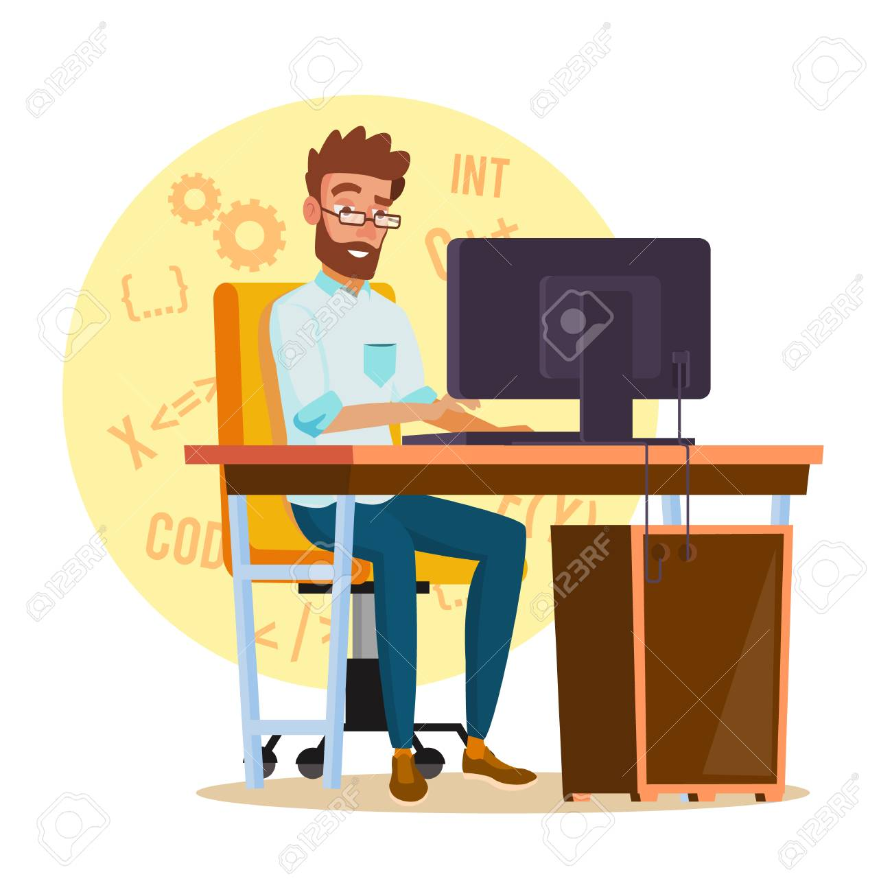 Programmer Man Vector Stylized Young Developer Person Working