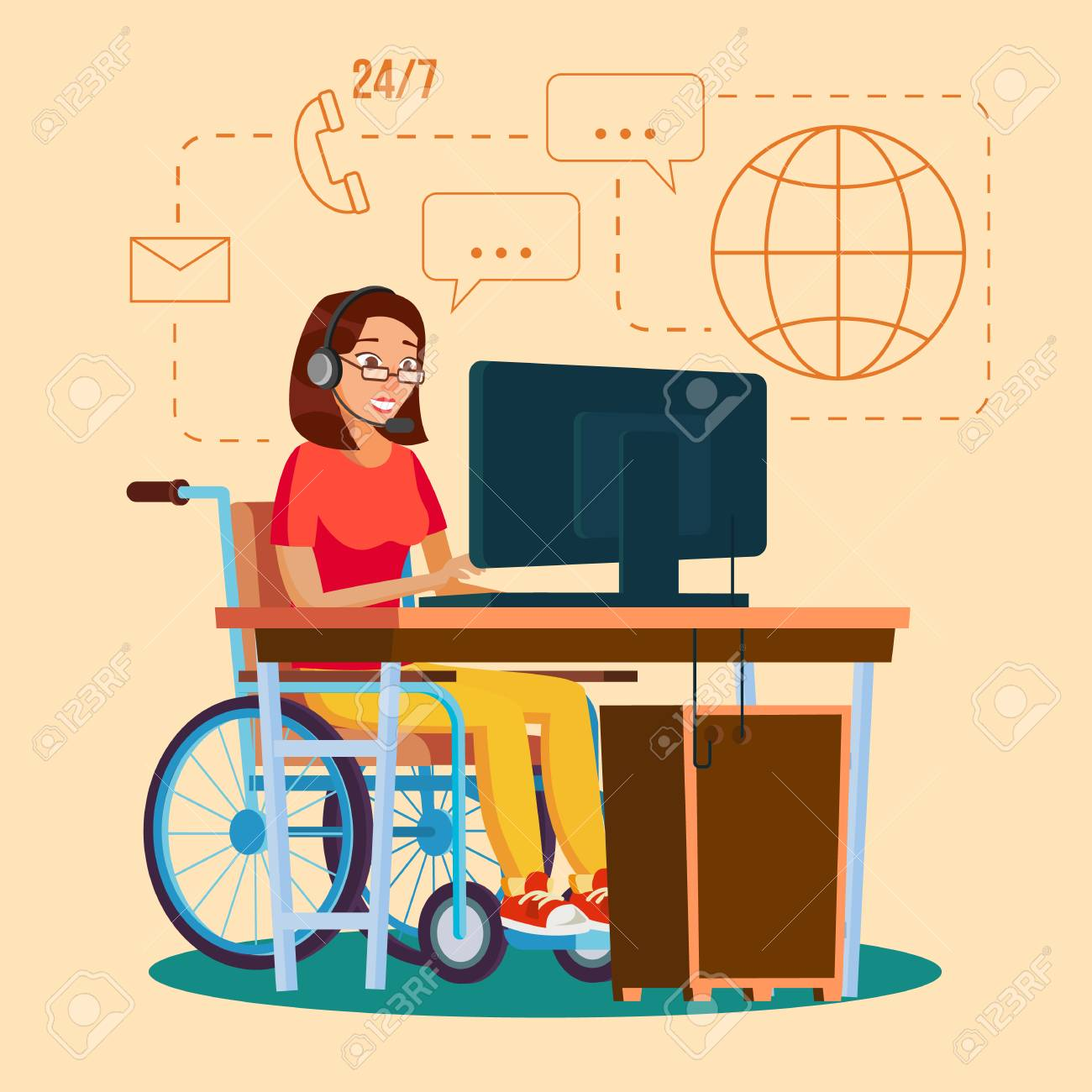Disabled Woman Working Vector. Socialization Concept. Wheelchair With Person. Isolated Flat Cartoon Character Illustration - 87928810