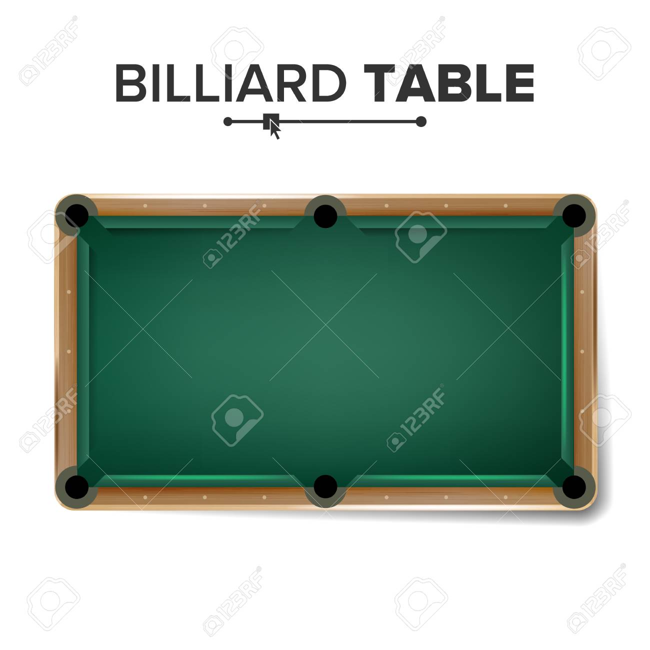 Billiard Table Vector. Classic Green Pool Table. Top View. Isolated  Illustration Stock Vector