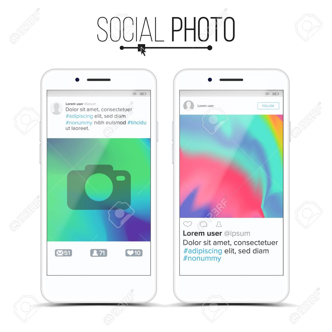 Social Network Photo Frame Vector. Modern Application Concept ...