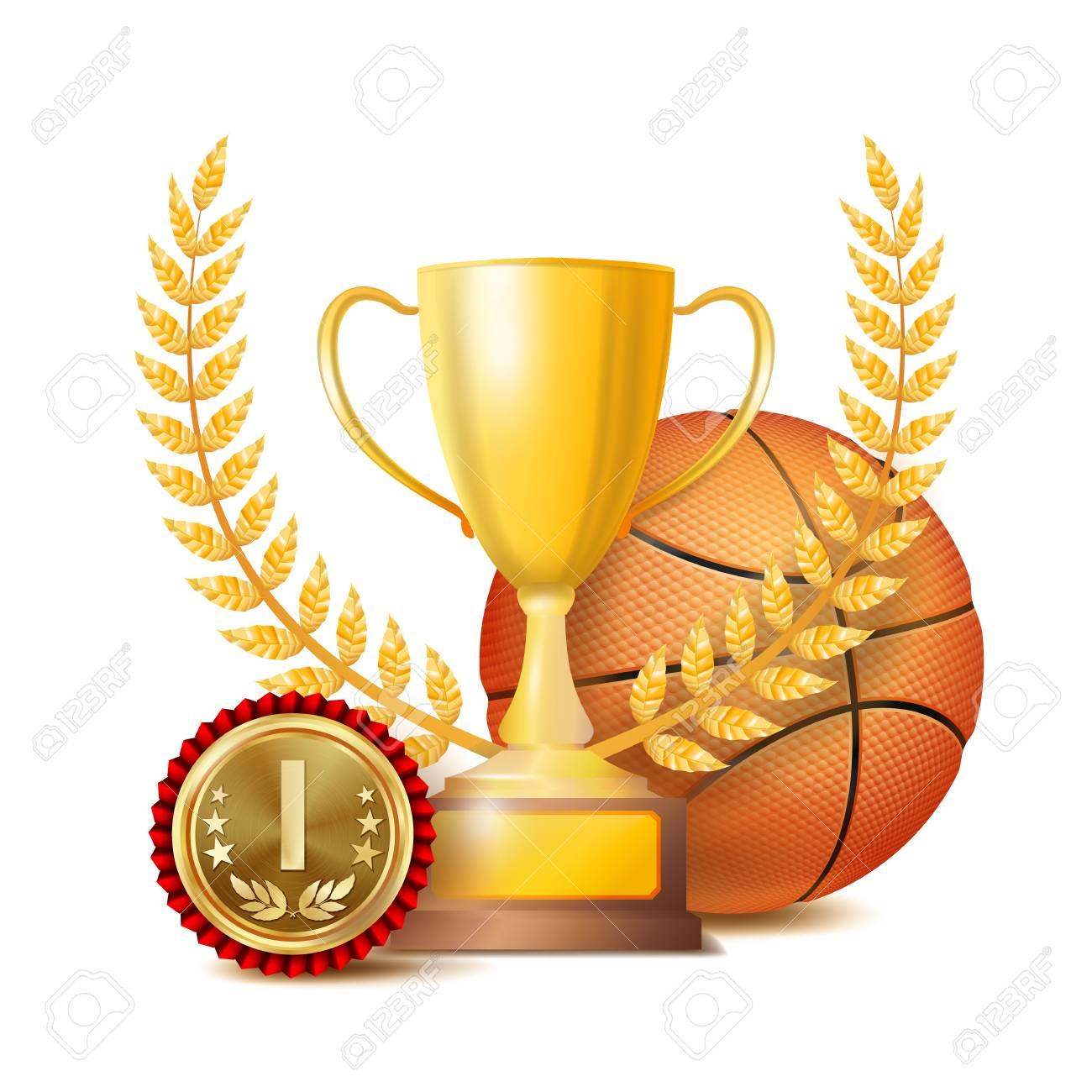 Basketball Award Vector Sport Banner Background Orange Ball Gold Winner Trophy Cup