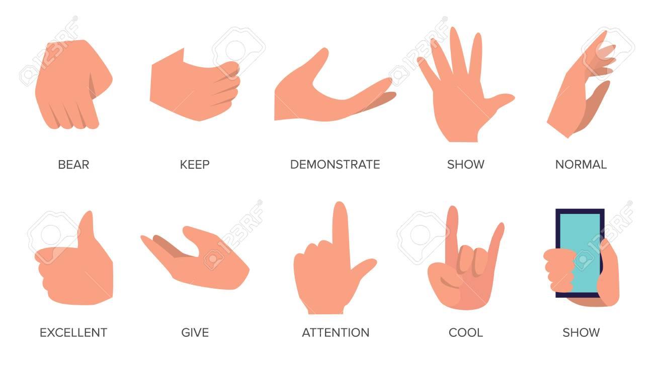 gestures set vector hands in different emotions various arm rh 123rf com free vector handshake free vector hands shaking