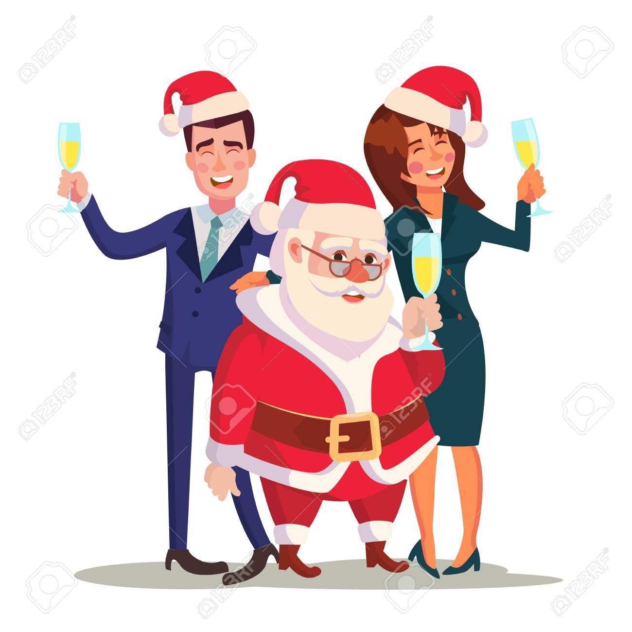 Corporate Christmas Party Vector. Man, Woman And Santa Claus ...