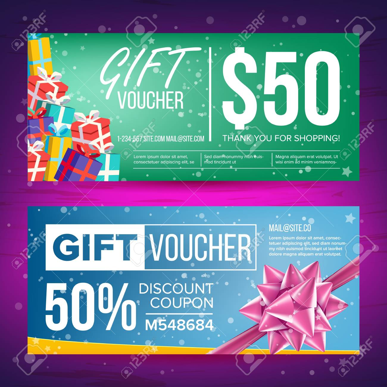Voucher Vector. Horizontal Banner. Creative Holiday Cards Or ...