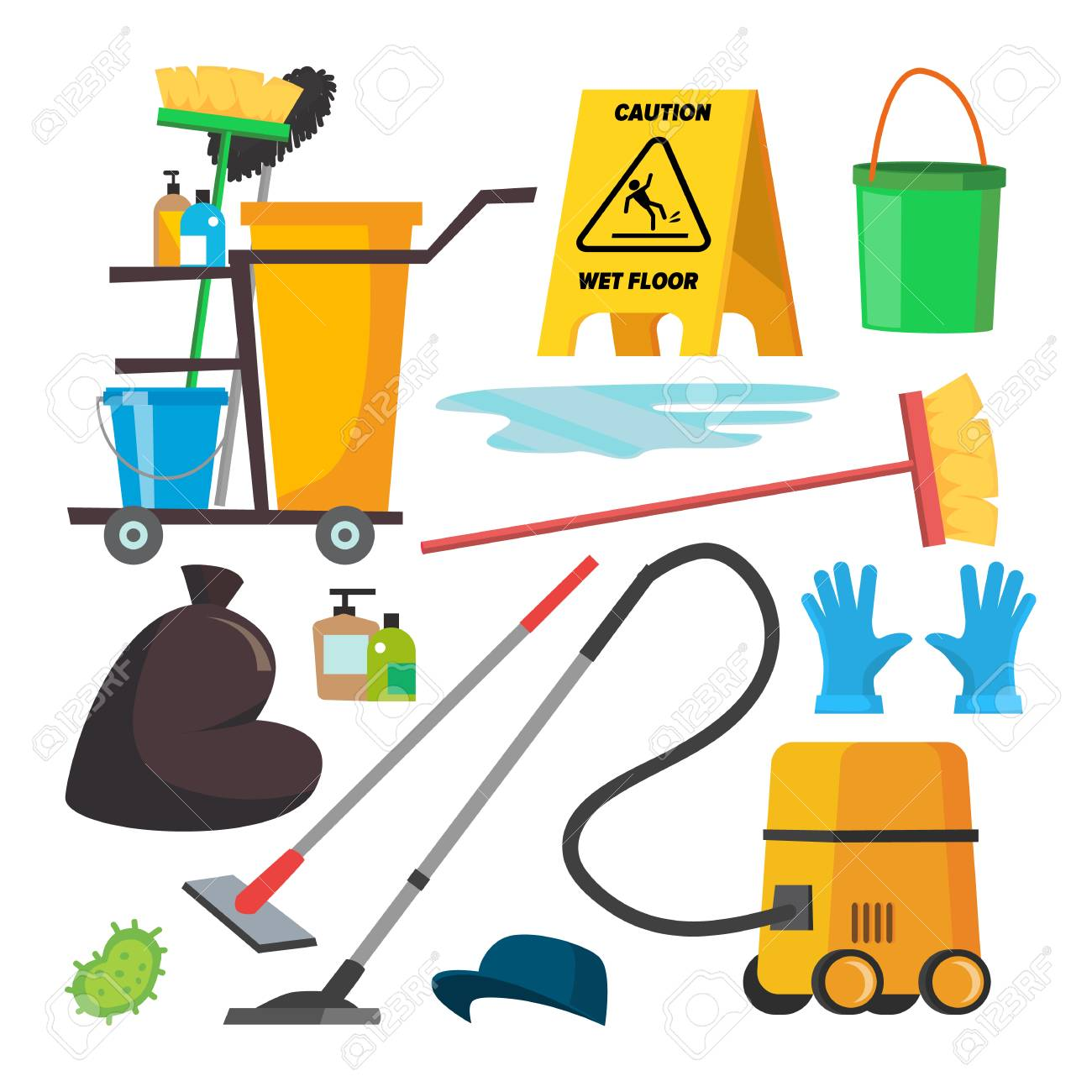 Cleaning Supplies Vector. Professional Commercial Cleaning Equipment Set. Cart, Vacuum Cleaner. Isolated Illustration. - 91390613
