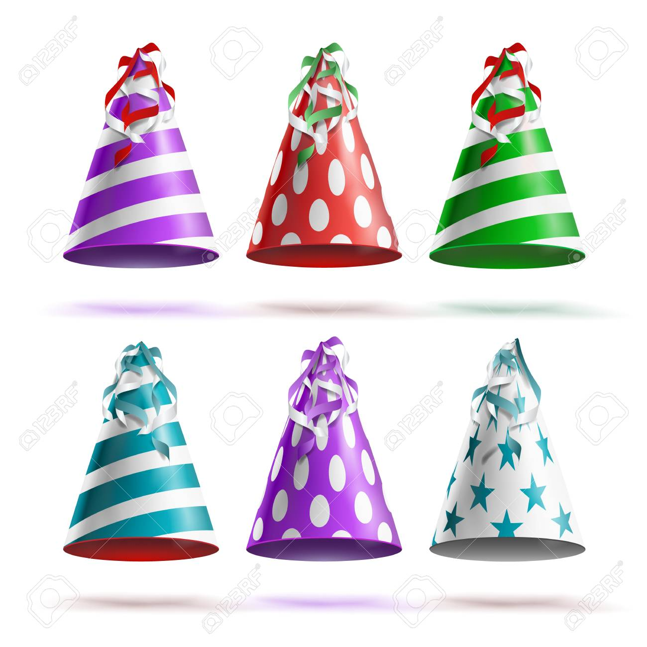Party Hat Vector Classic Red White Striped Craft Birthday Isolated Illustration Stock