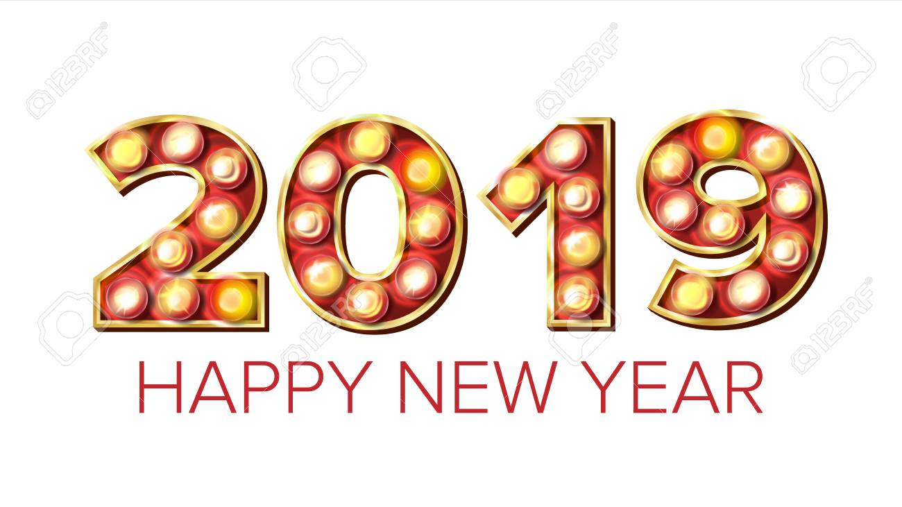 2019 happy new year vector background decoration greeting card design 2019 light sign