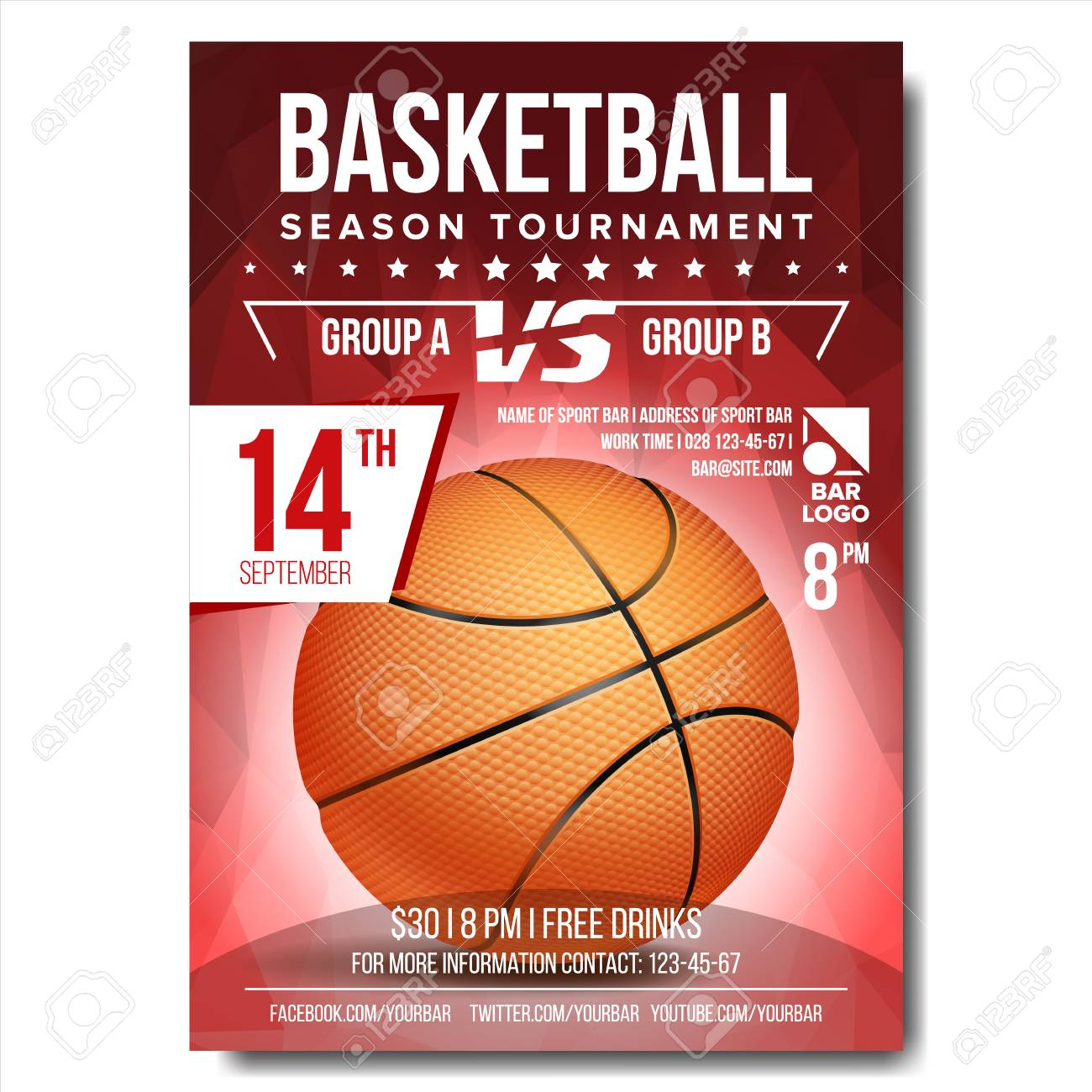 Basketball Poster Vector Basketball Ball Design For Sport Bar