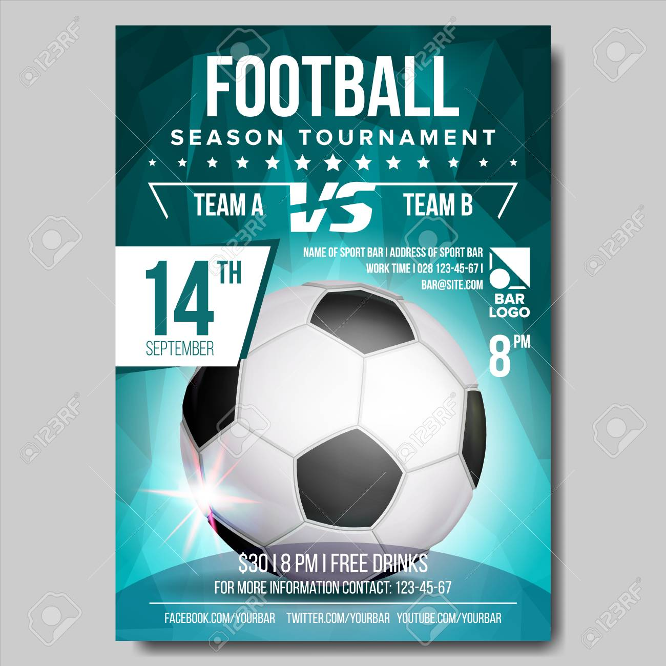 Soccer Poster Vector Football Ball Design For Sport Bar Promotion Tournament Championship