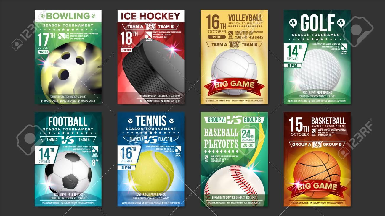 sport posters set vector golf baseball ice hockey bowling