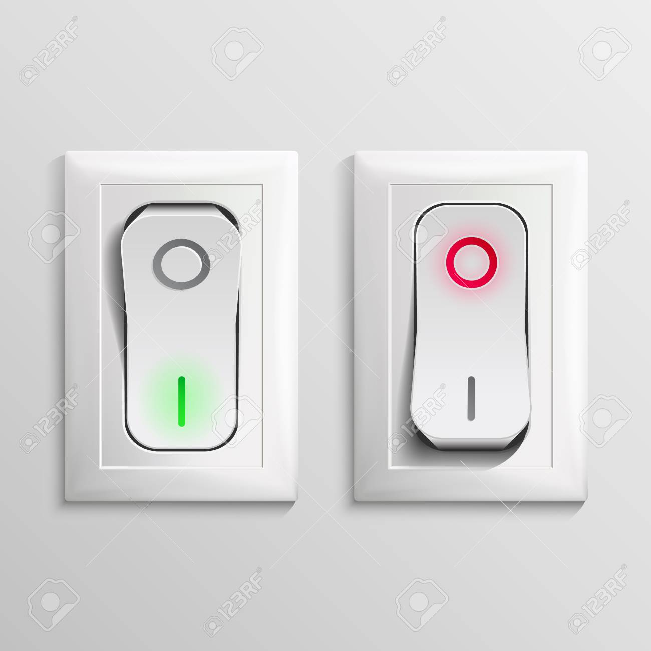3D Toggle Switch Vector. White Switches With On, Off Position ...
