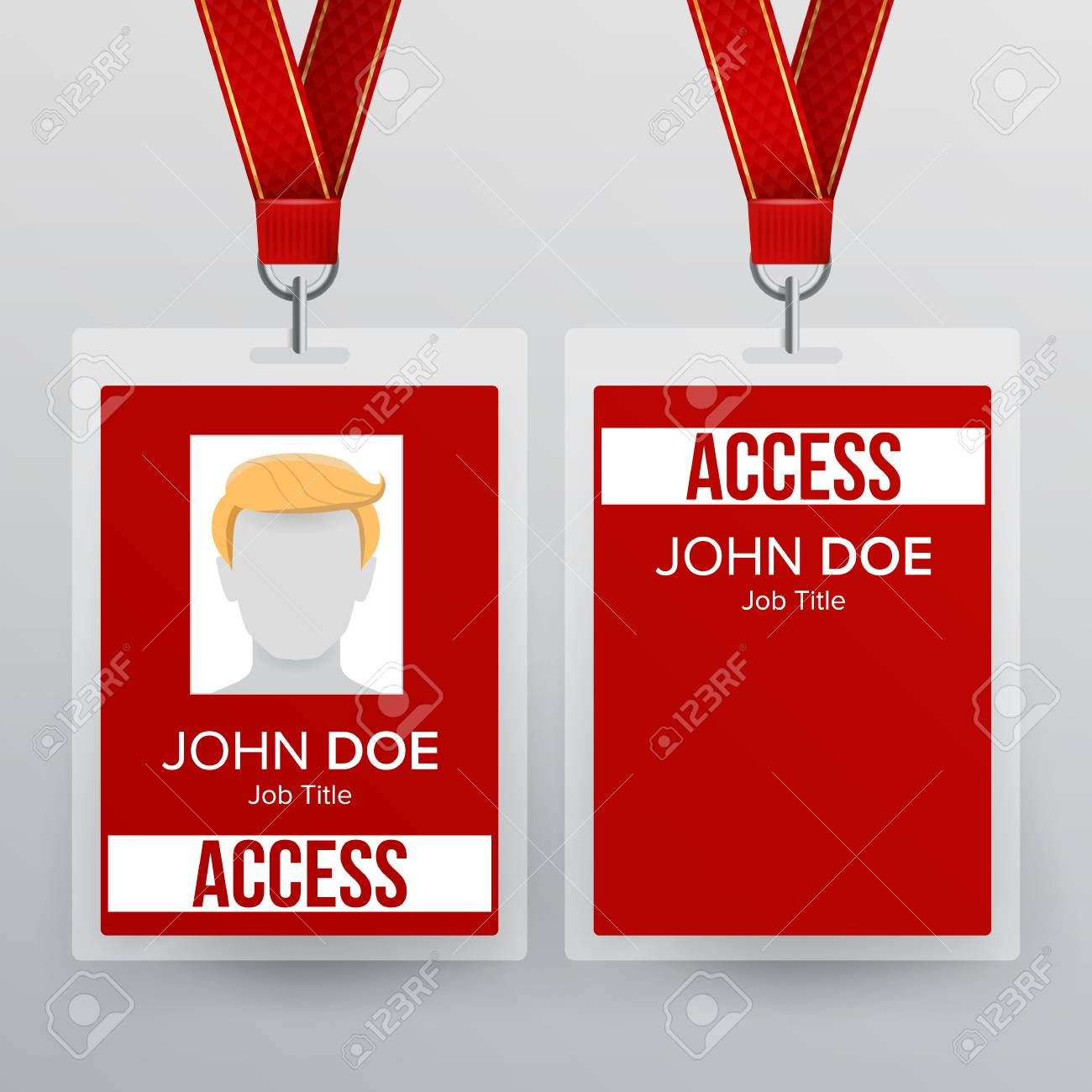 Press Pass Id Card Vector Plastic Badge Template To Business