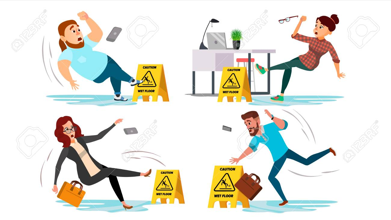 Caution Wet Floor Sign Vector. People Slips On Wet Floor. Situation In Office. Danger Sign. Clean Wet Floor. Isolated Flat Cartoon Illustration - 95001456